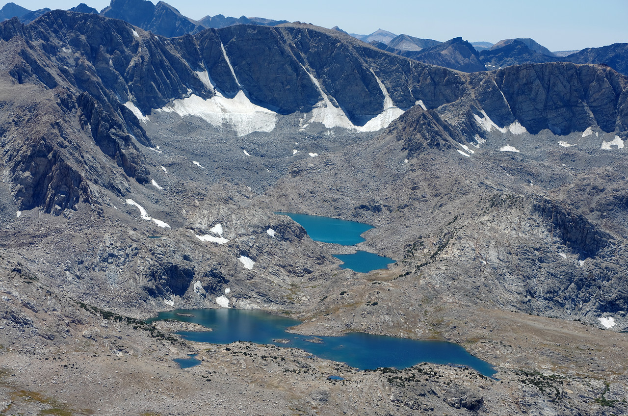 A close-up of Muriel Lake, Goethe Lakes, and the Goethe Glacier from the summit of Mount Humphreys.