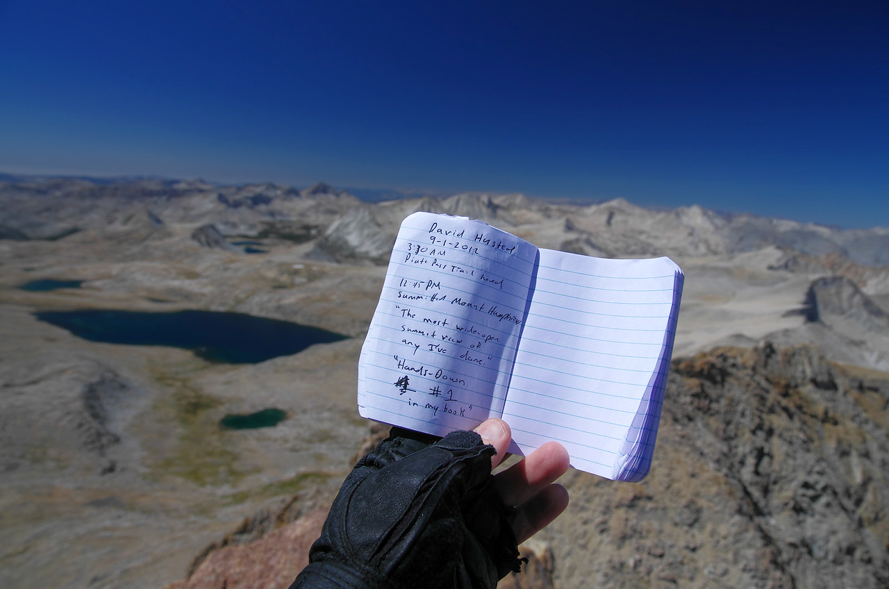 My chosen words for the summit log atop of Mount Humphreys as I prepare to start my descent from the summit of Mount Humphreys around 2pm.