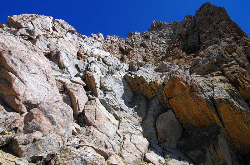 ~13,400ft at the Notch looking up at the class 4 section that leads you to the summit.