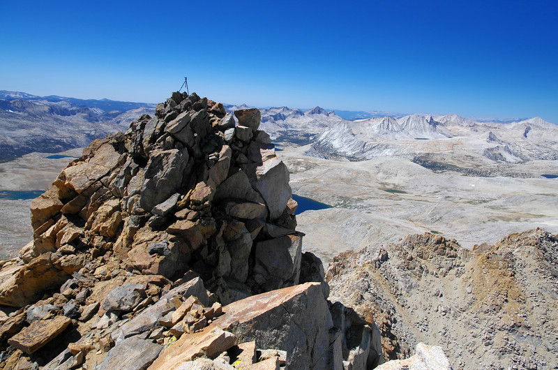 The true summit of Mount Humphreys with my tripod atop of it as seen from the lower summit to the east of it.