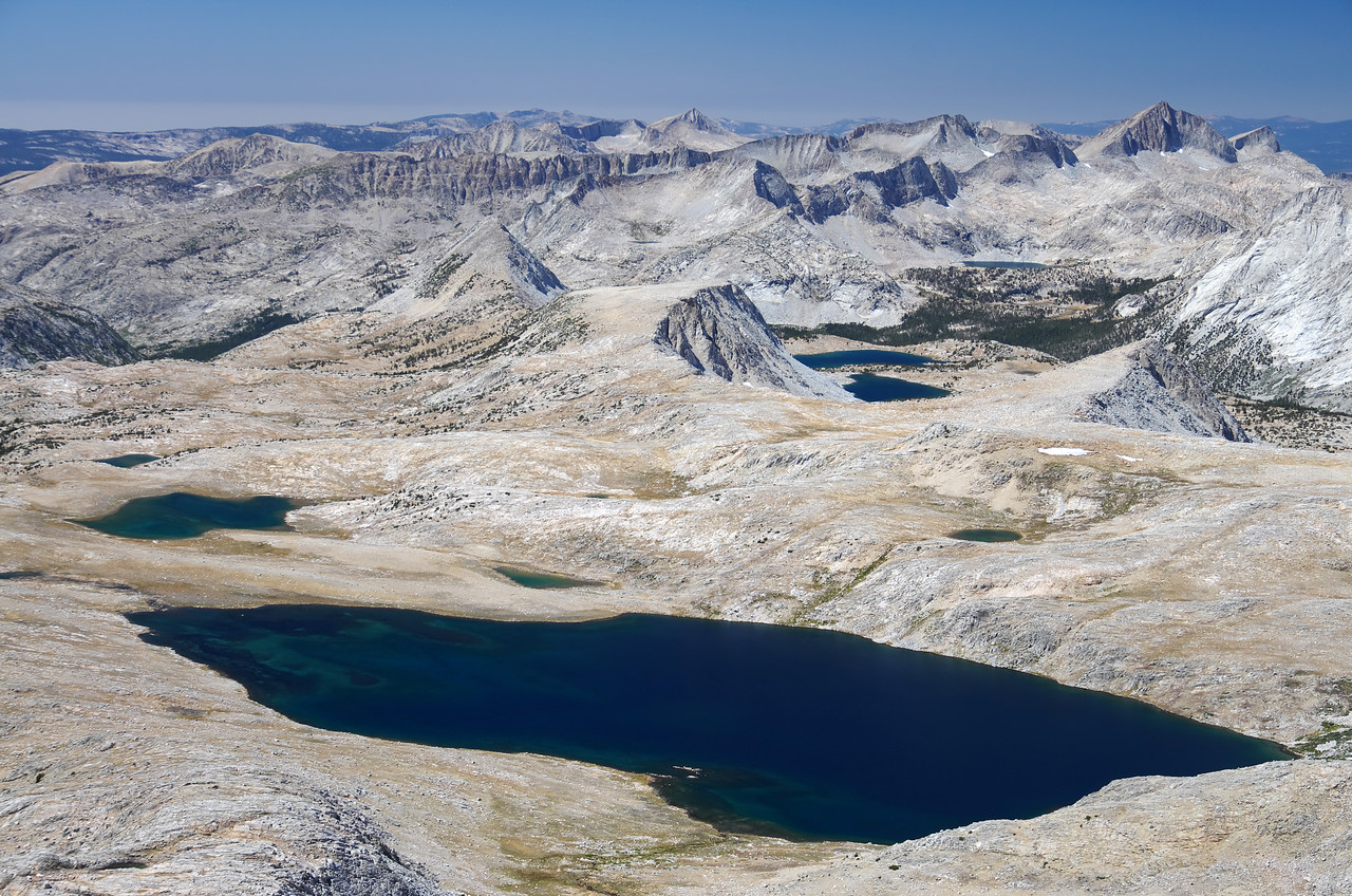 Desolation Lake is an enormous Lake in the Humphreys Basin as seen here from the summit of Mount Humphreys.  It's the largest solid-body-of-water alpine Lake that I know of in the High Sierras and sets relatively high too--about 11,400ft.