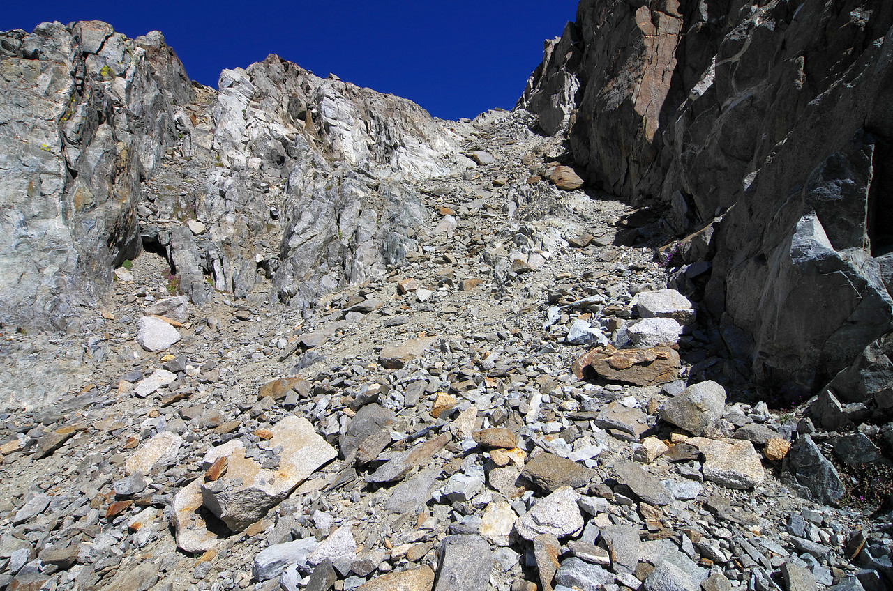 There's plenty of slipery spots where you must be careful with your footing along the class 3 section of this climb.