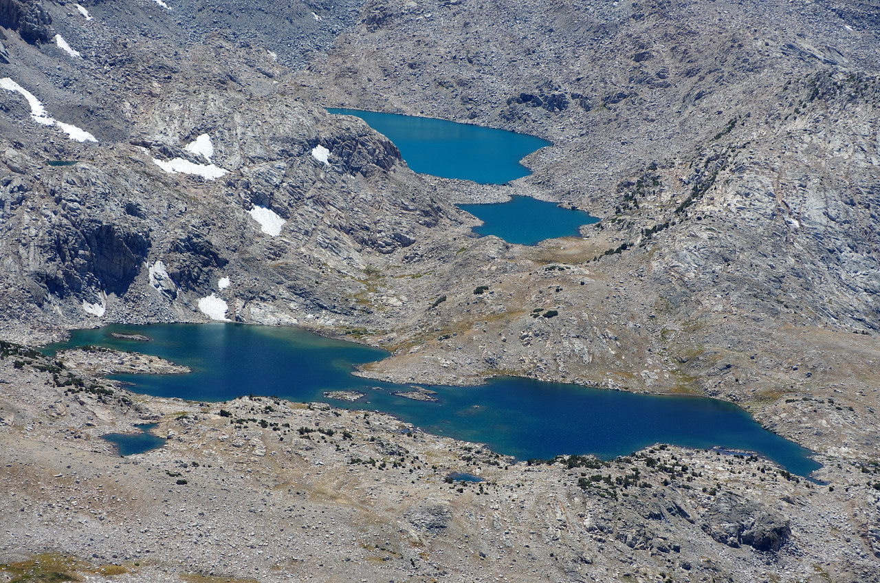 A close-up of Muriel Lake and Goethe Lakes as seen from summit of Mount Humphreys.