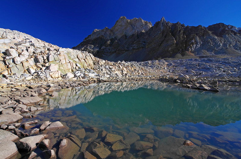 A emeral green pool around 12,100ft just south of the upper-most Humphreys Lake.