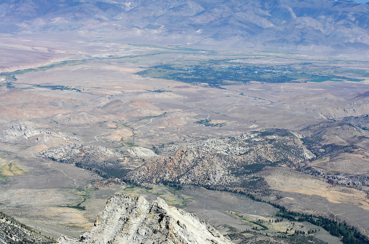 Looking down on the city of Bishop from the summit of Mount Humphreys.