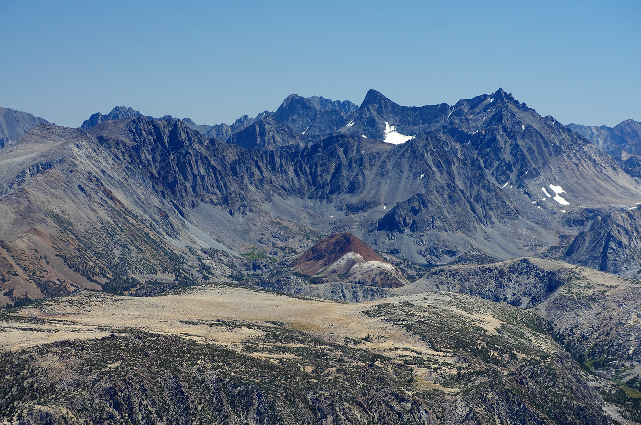 Looking SE towards the Palisades with Mount Sill, the North Palisade and Bishop Pass easily identifiable from the summit of Mount Humphreys.  Chocolate Peak is the most obvious peak centered in the photo.