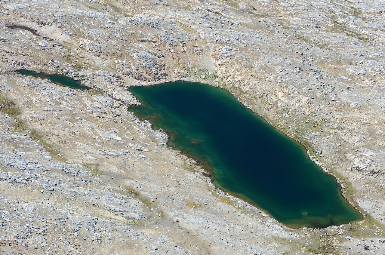 Looking down on the 3rd highest Humphreys Lake from the summit of Mount Humphreys.