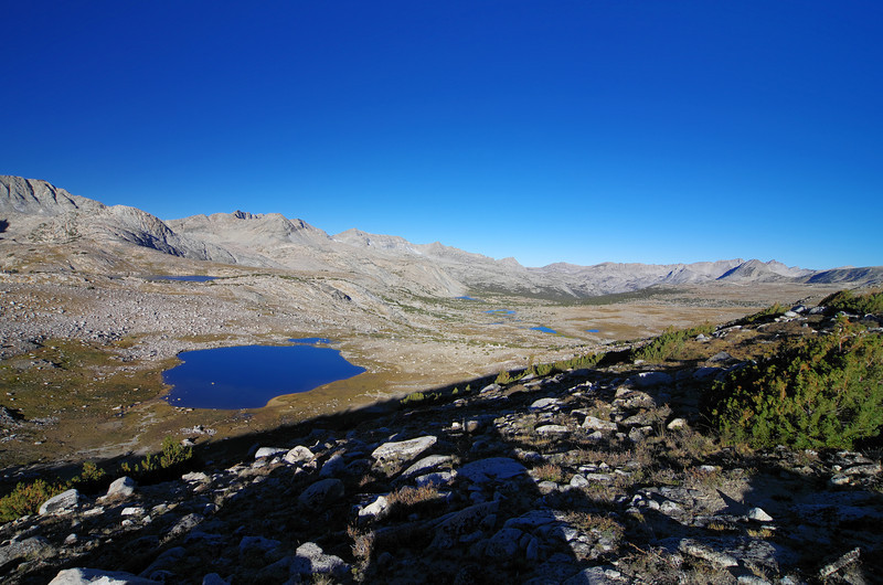 Looking down on the lower Humphreys Basin with Summit Lake in the foreground and the Golden Trout Lakes in the distance.