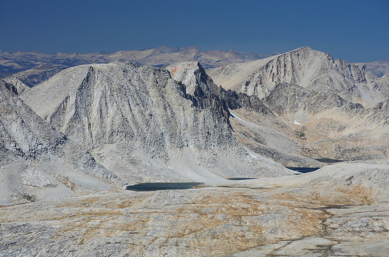 Merriam, Royce, and Feather Peaks above the Royce Lakes as seen looking NW off of the summit of Mount Humphreys.