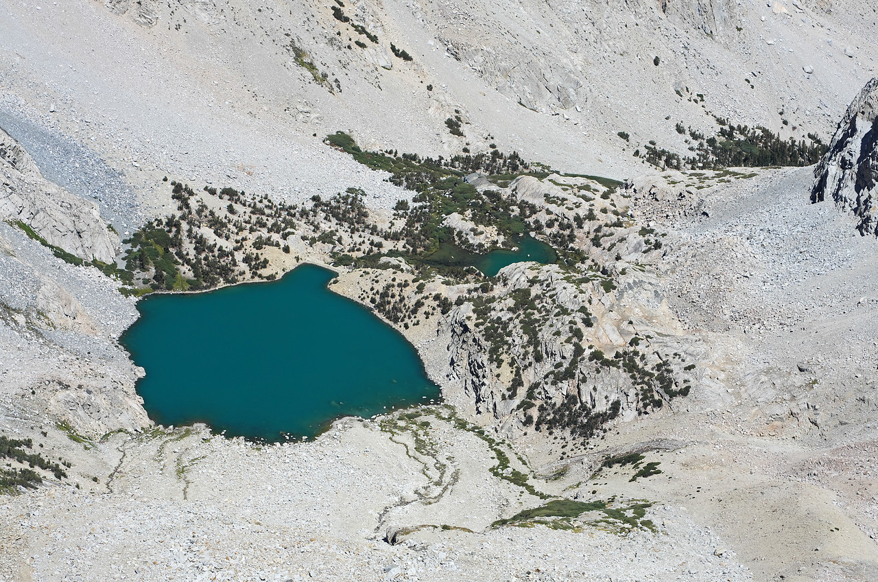 A close-up of Longely Lake from the summit of Mount Humphreys.