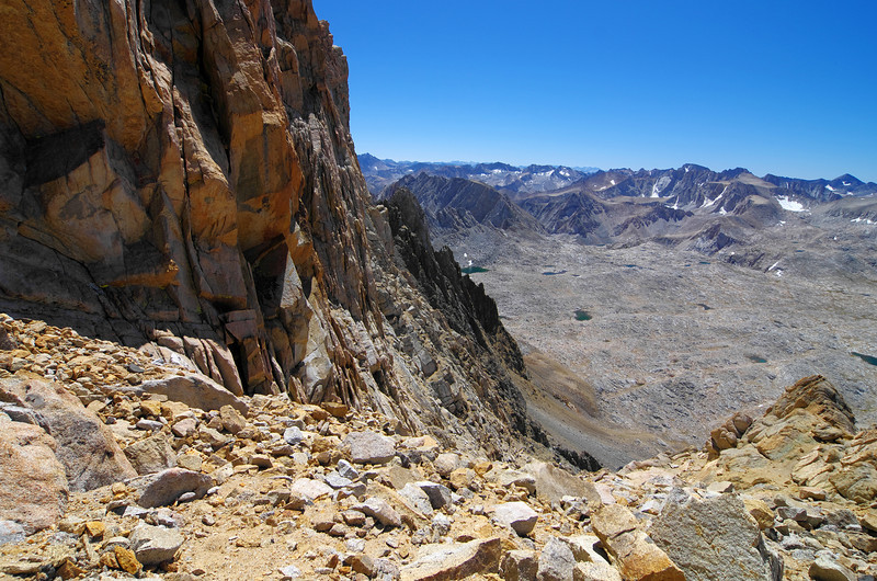 ~13,400ft at the Notch looking back down the class 3 and the Humphreys Basin.