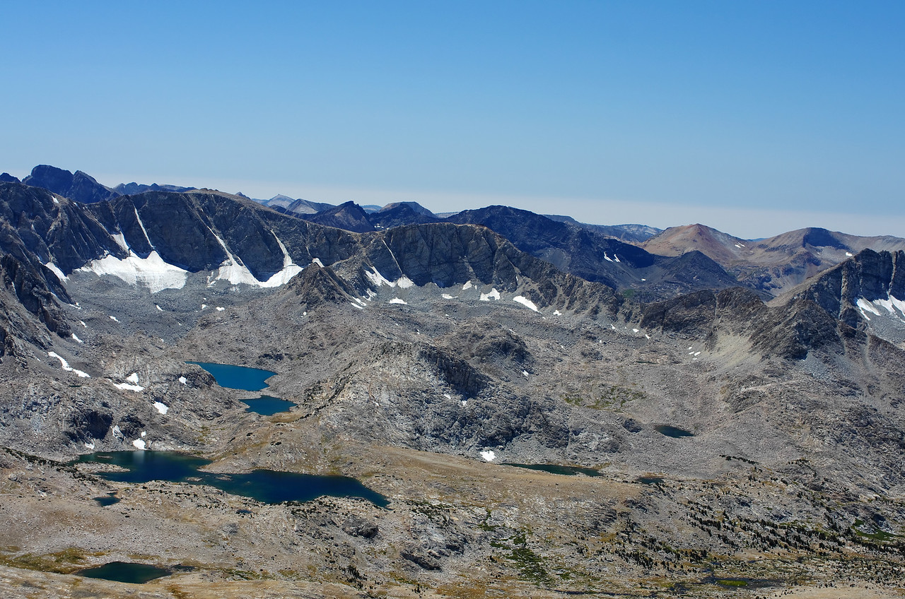 Looking SW towards Muriel Lake the Goethe Glacier and Lakes from the summit of Mount Humphreys.