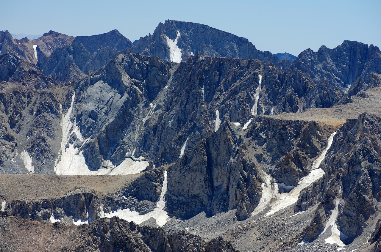 A close-up of Mount Mendal and Mount Darwin as seen from the summit of Mount Humphreys.