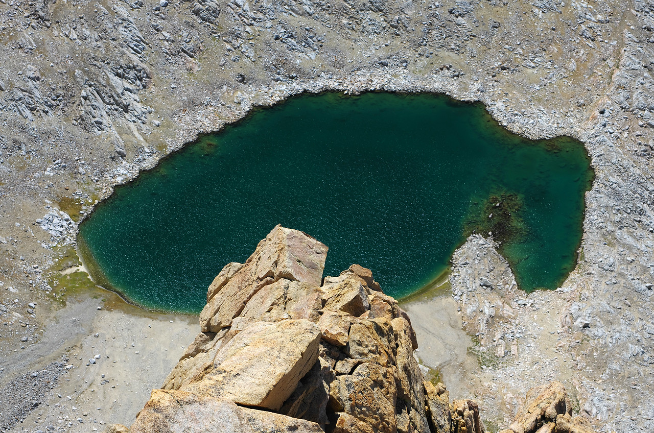 Looking down on the highest Humphreys Lake from the summit of Mount Humphreys.