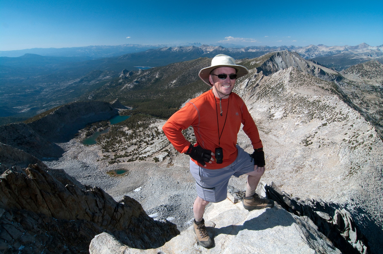 Me atop of Mt Hooper, 12,349ft, Edison Lake in the distant background.