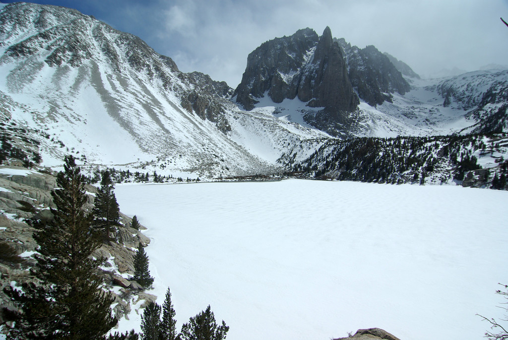 Overlooking the Second Big Pine Lake in a frozen-over state.