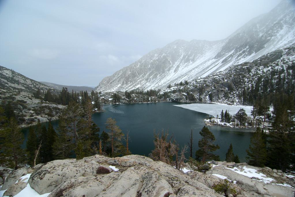 A mostly un-frozen First Big Pine Lake.