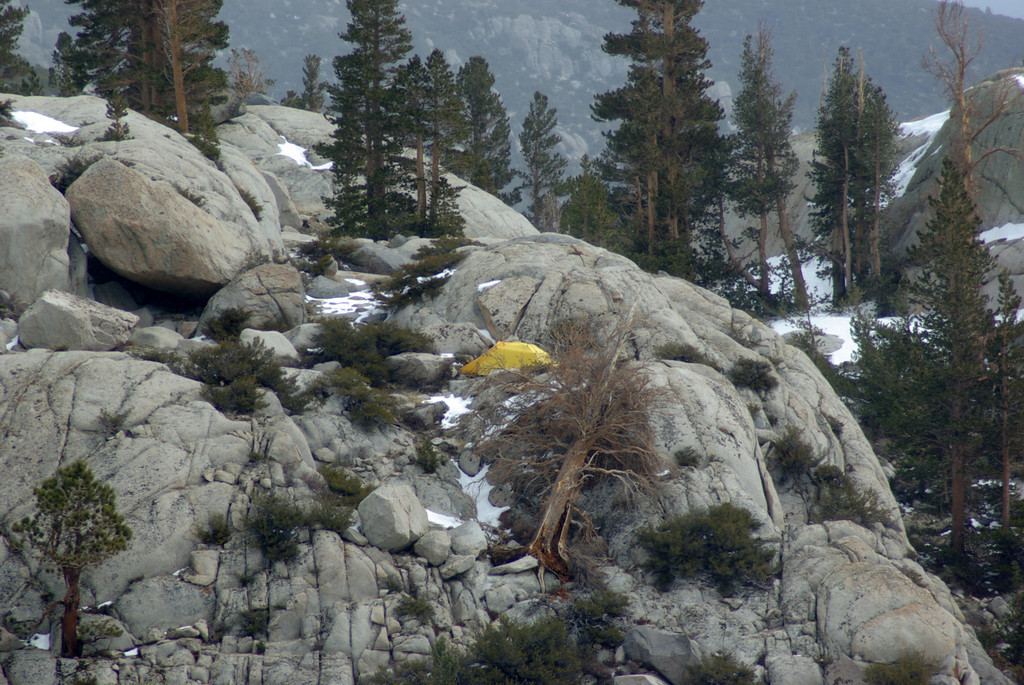 Hey my Tent, as seen from the other side of the Second Big Pine Lake