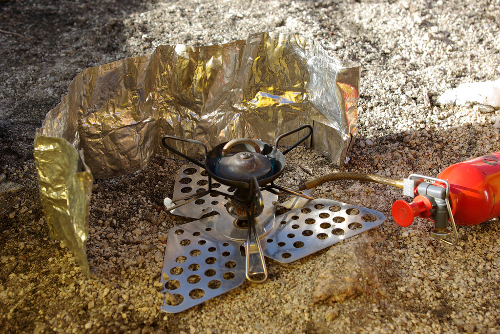 My MSR International Stove and the Trillium base for stability and the wind-shield for functionality.