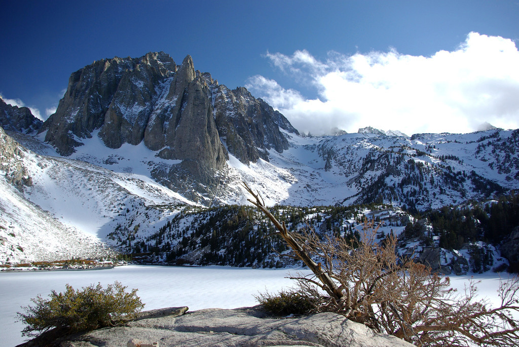 The Temple Crag towers over the Second Big Pine Lake.