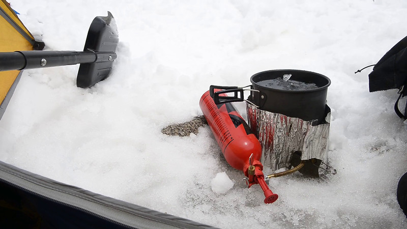 Melting some snow for drinking water--Day 3