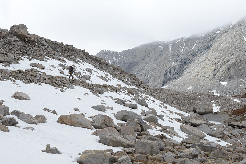Ben and I get above the timber line and start to pick up the pace as snow fluries are in the air.