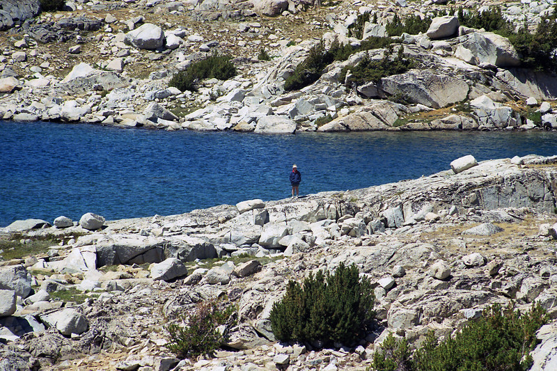 Mom observing the scenery of Muriel Lake