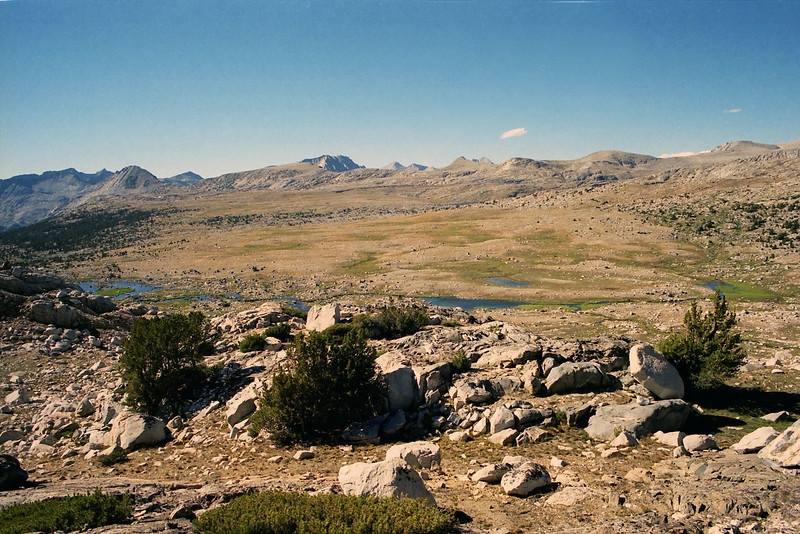 Looking towards the Humphreys Basin and the upper Pine Creek from near Muriel Lake.