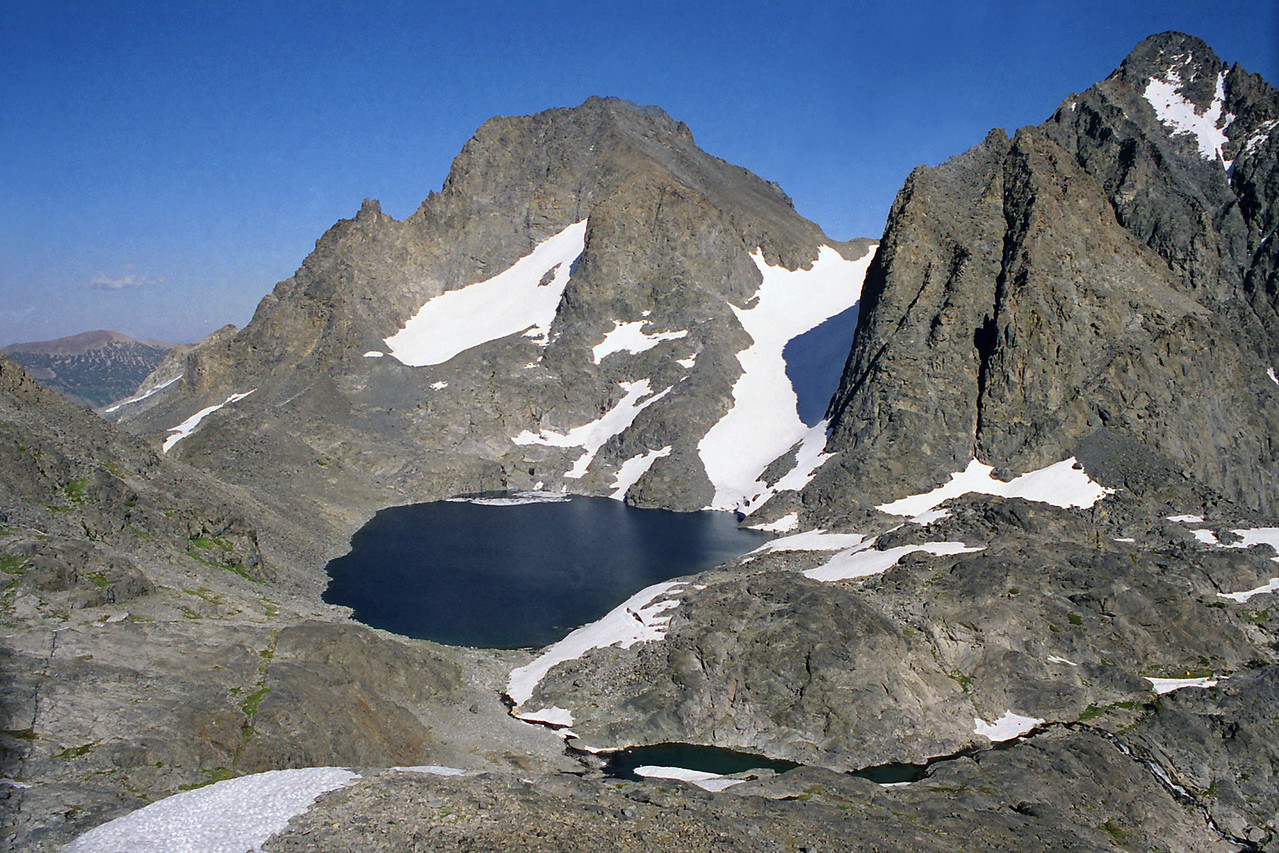 4   Looking down on Lake Catherine gaurded by Banner Peak and Mt Riter, Trip 13, August 2000
