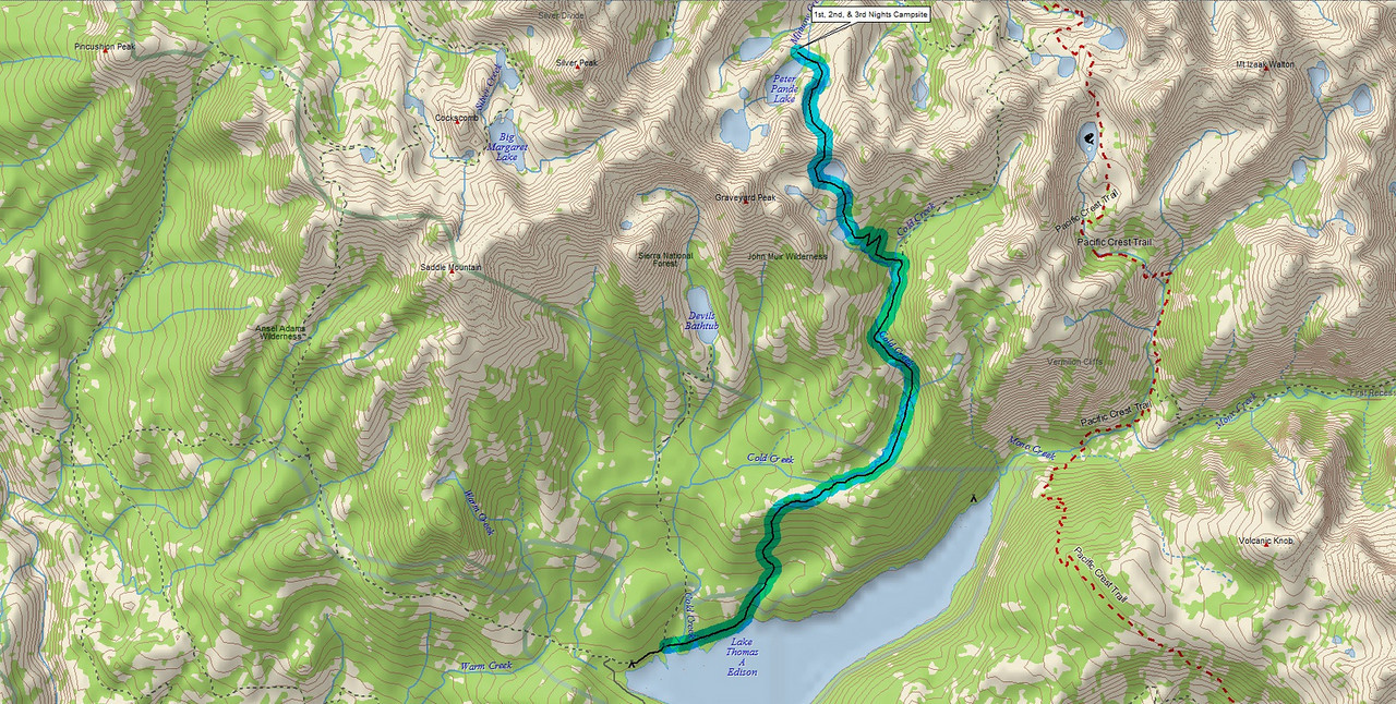 MAP to the most Beautiful place that I've been to in the High Sierras--Peter Pande Lake