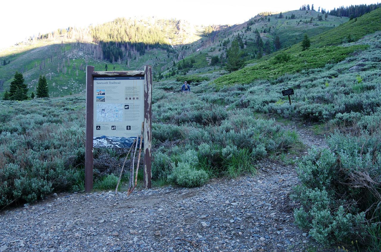 A Hiker heads up the Sawtooth Trail.