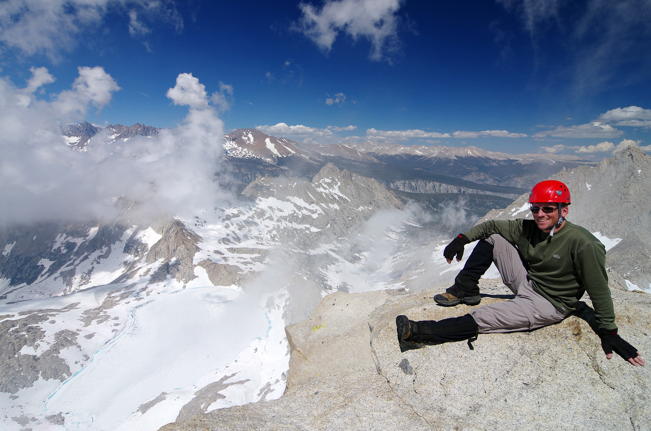 Me atop of the 12,343ft Sawtooth Peak or about 12,340ft were I'm at.  Mt Wittney in the background and Columbine Lake down below.  Needham Mountain in the far right of the picture just a little above my head.