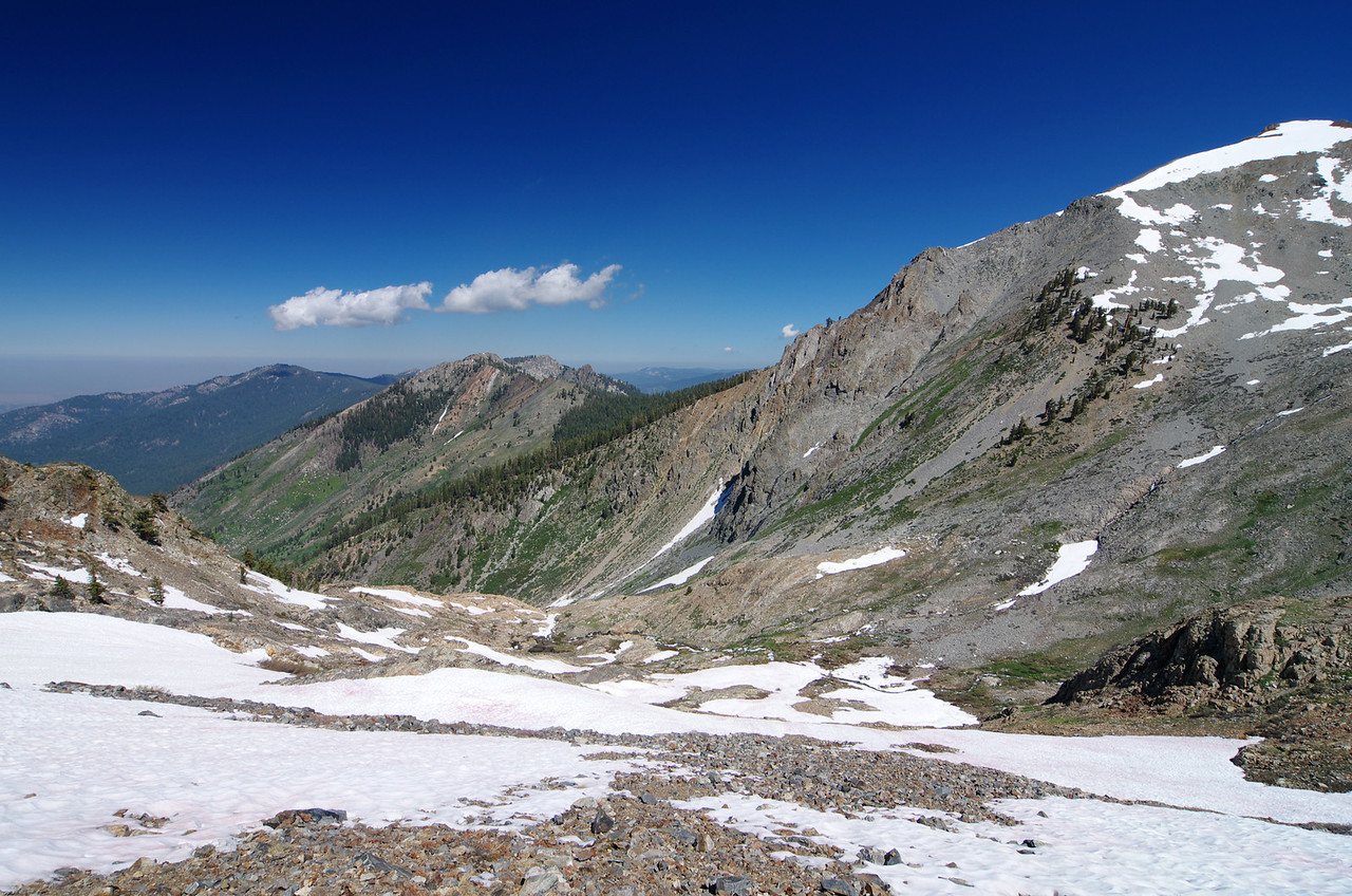 Looking down the mountainside that Monarch Creek descends towards Mineral King--about 10,300ft.