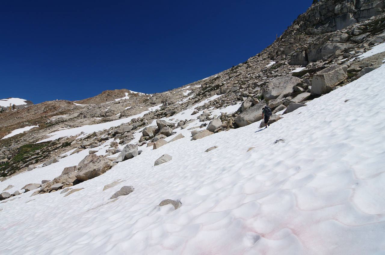 One of only 3 hikers including myself to summit Sawtooth on this day.  These other 2 guys took more of a rock/boulder route w/o crampons and ice axe, but couldn't avoid all of the snow entirely as this picture depicts.