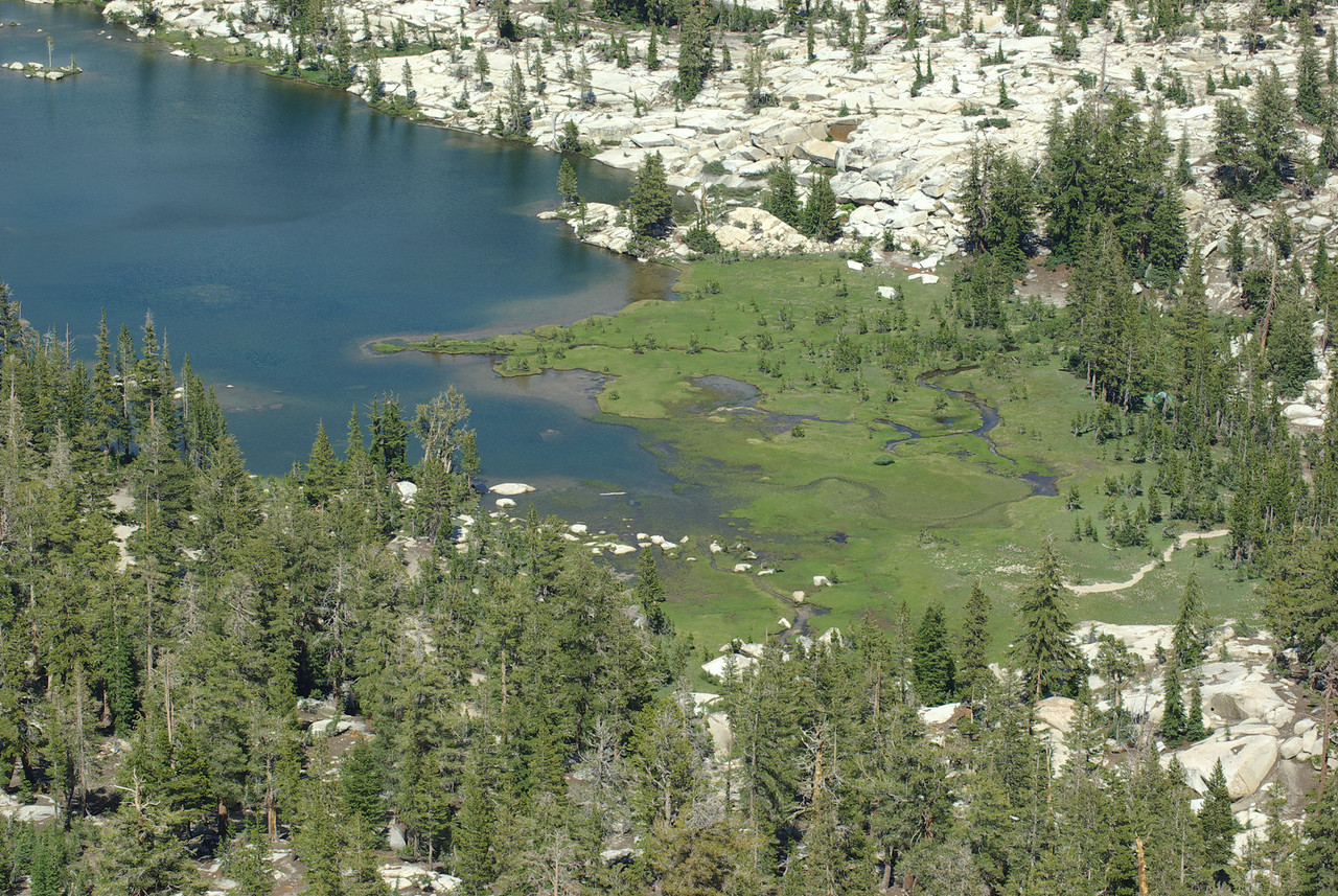 A close-up of the Southern end of Island Lake from atop of the Northern Three Sister
