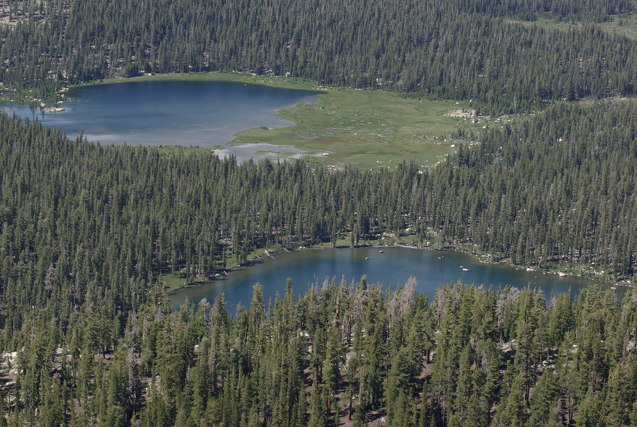 A close-up of he 1st Dinkey Lake and South Lake from atop of the Northern Three Sister