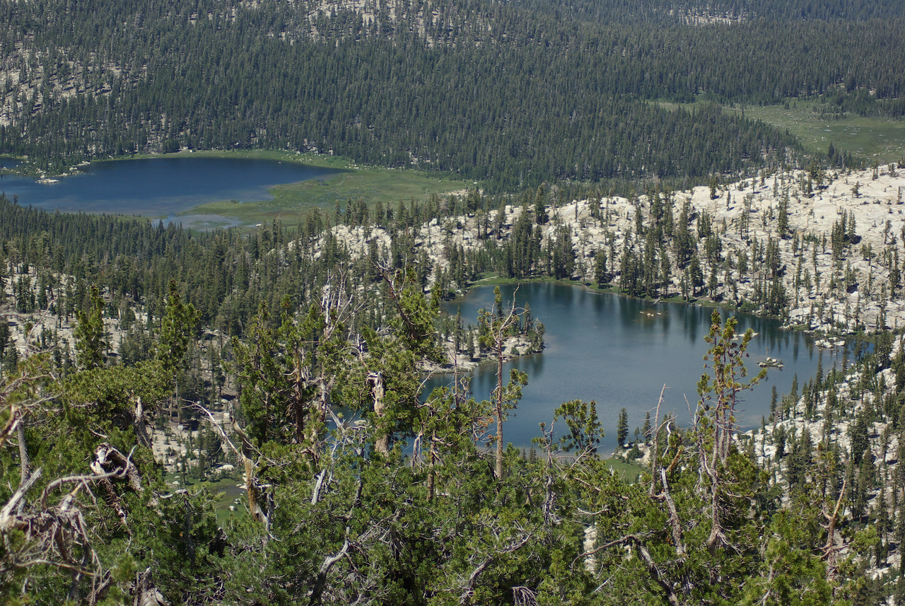 Island Lake and the 1st Dinkey Lake from the Southern Three Sister