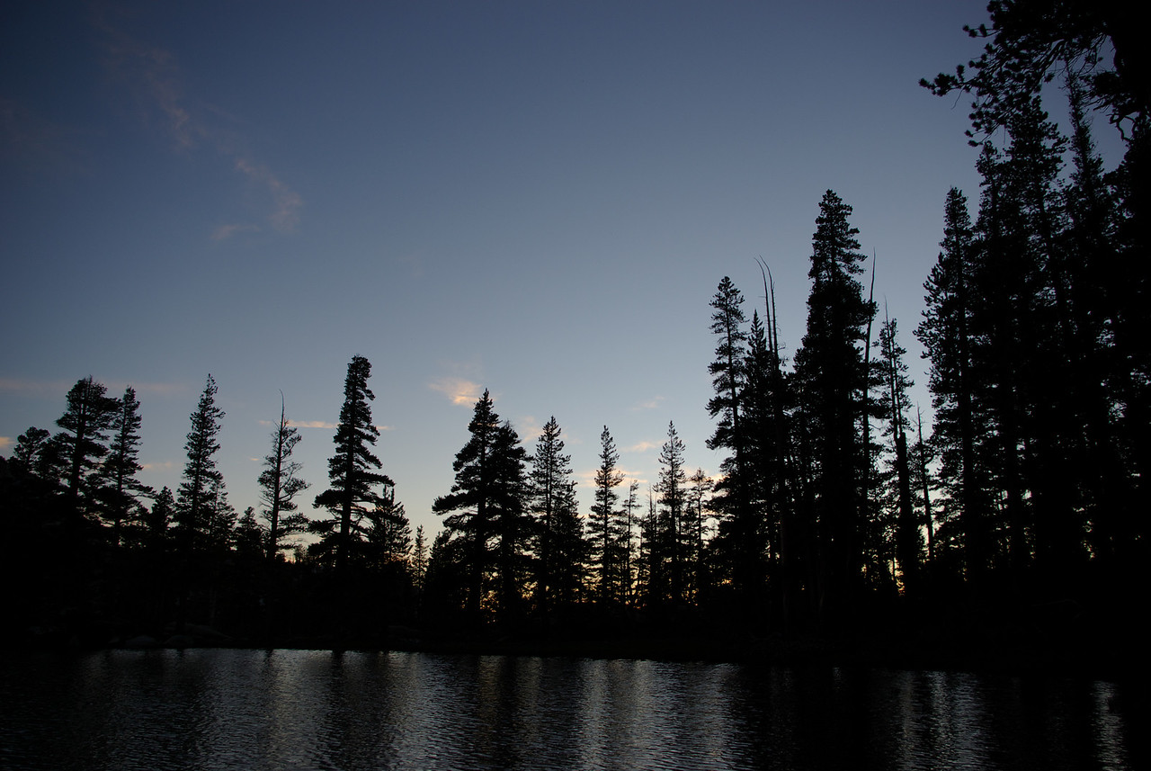 Night falls on Island Lake
