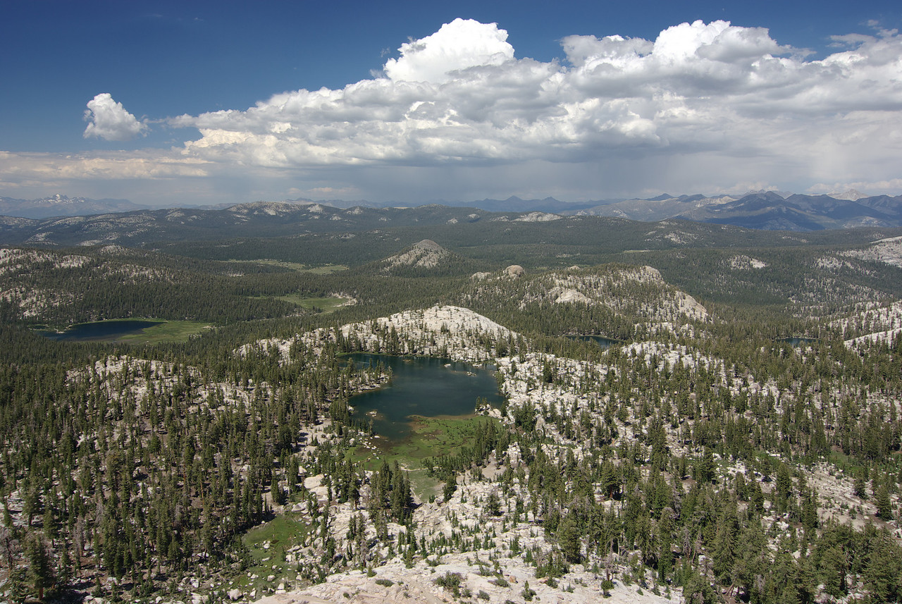 The 1st Dinkey Lake, Island Lake, The 2nd Dinkey Lake, and Rock Lake from atop of the Middle Three Sister