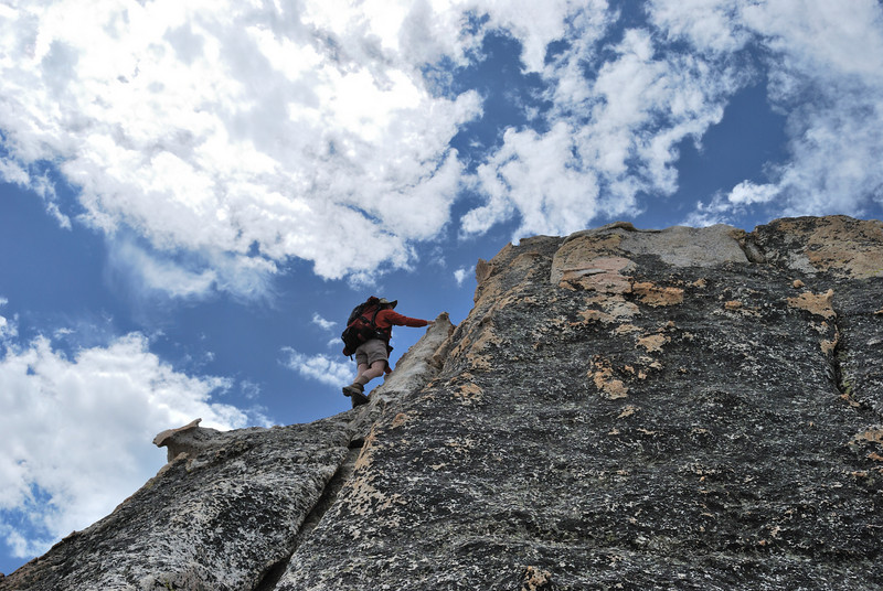 Me attempting to climb the official Dogtooth Peak, July 2009, Picture by Ben Zastovnick