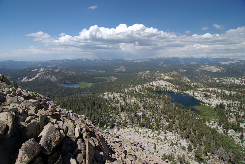 The 1st Dinkey Lake, Island Lake, The 2nd Dinkey Lake, and Rock Lake from atop of the Northern Three Sister