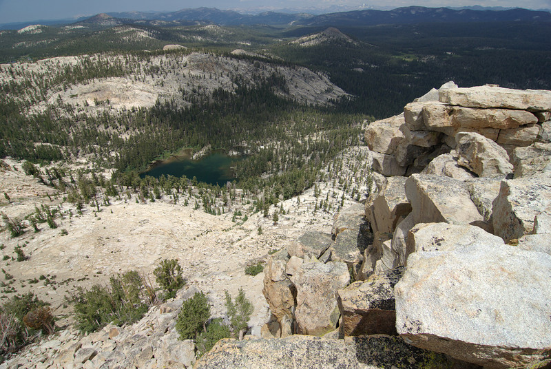 Looking down on Little Lake from atop of the unofficial Dogtooth Peak