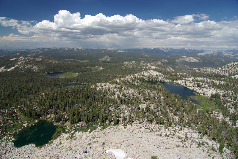 Fingerbowl Lake, The First Dinkey Lake, South Lake, Island Lake, and Rock Lake from atop of the Northern Three Sister