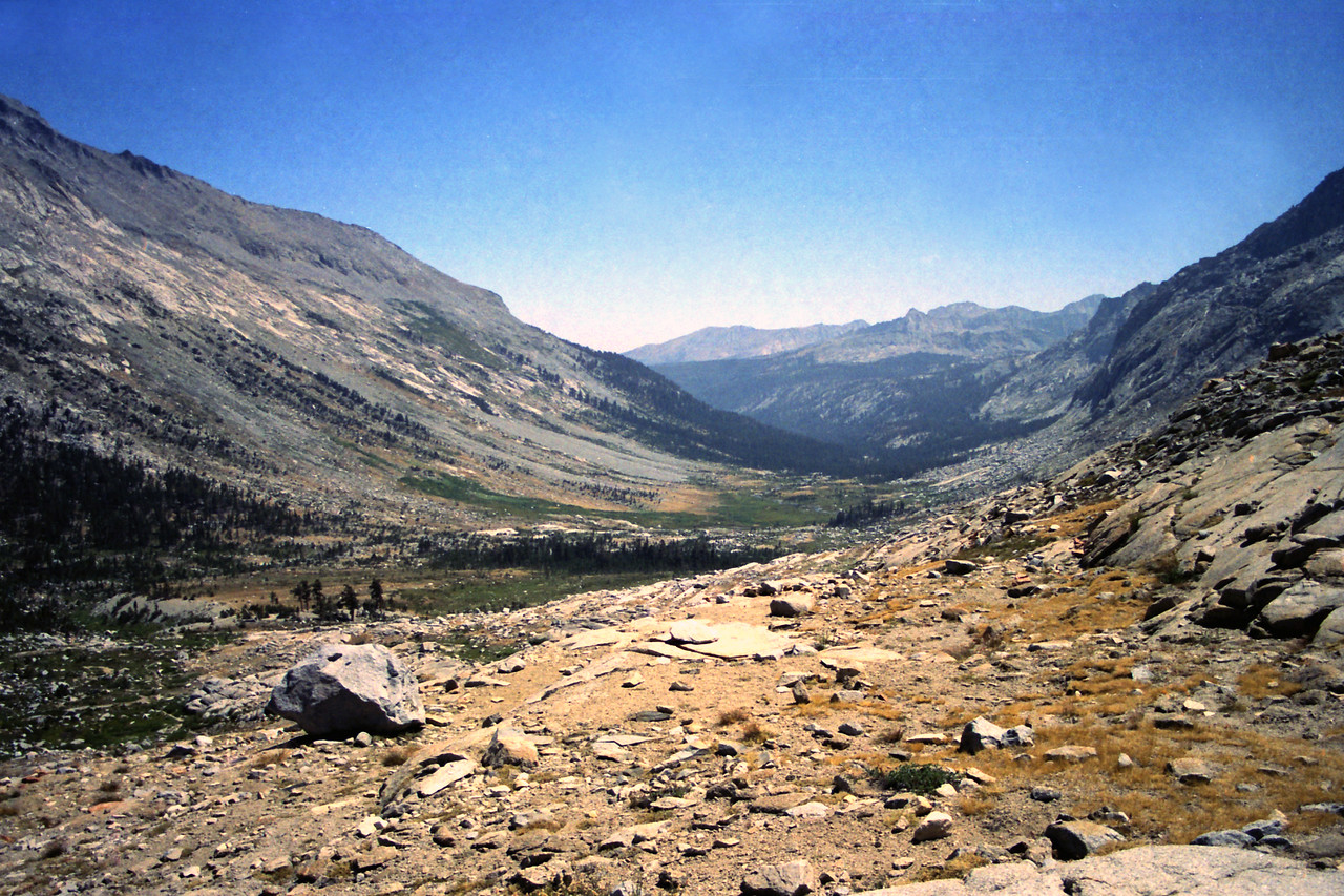 Looking South at Big Arroyo from the Southern end of the Nine Lake Basin near the High Sierra Trail