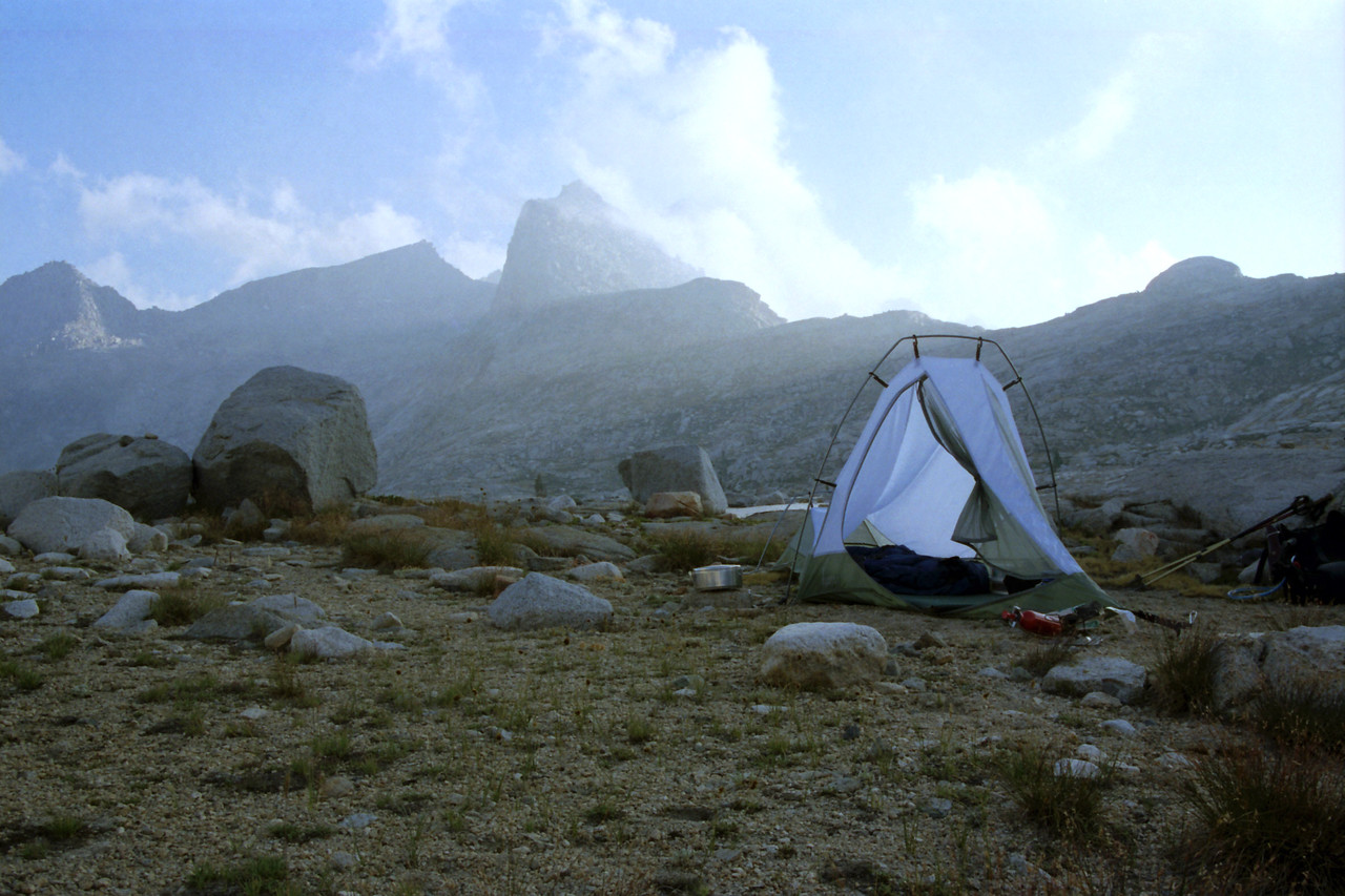 My campsite in the Nine Lake Basin, Rays coming over the Gap