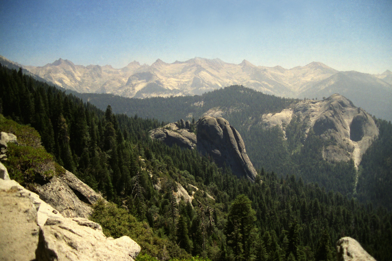 From the High Sierra Trail; Looking directly at Little Blue Dome, Sugarbowl Dome behind it and to the right