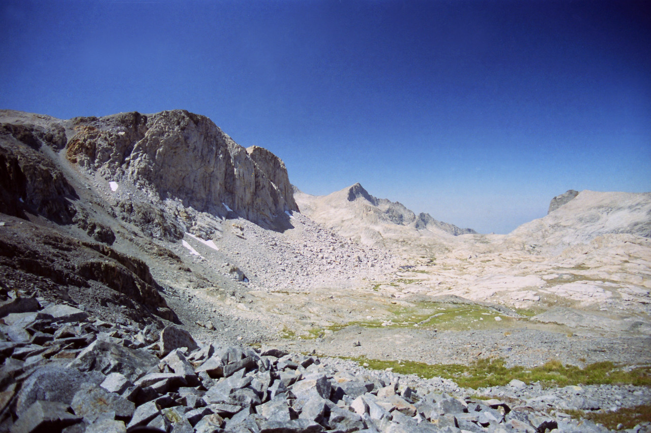 Making my way up to the Highest Lakes in the Nine Lake Basin, the Gap in the distance