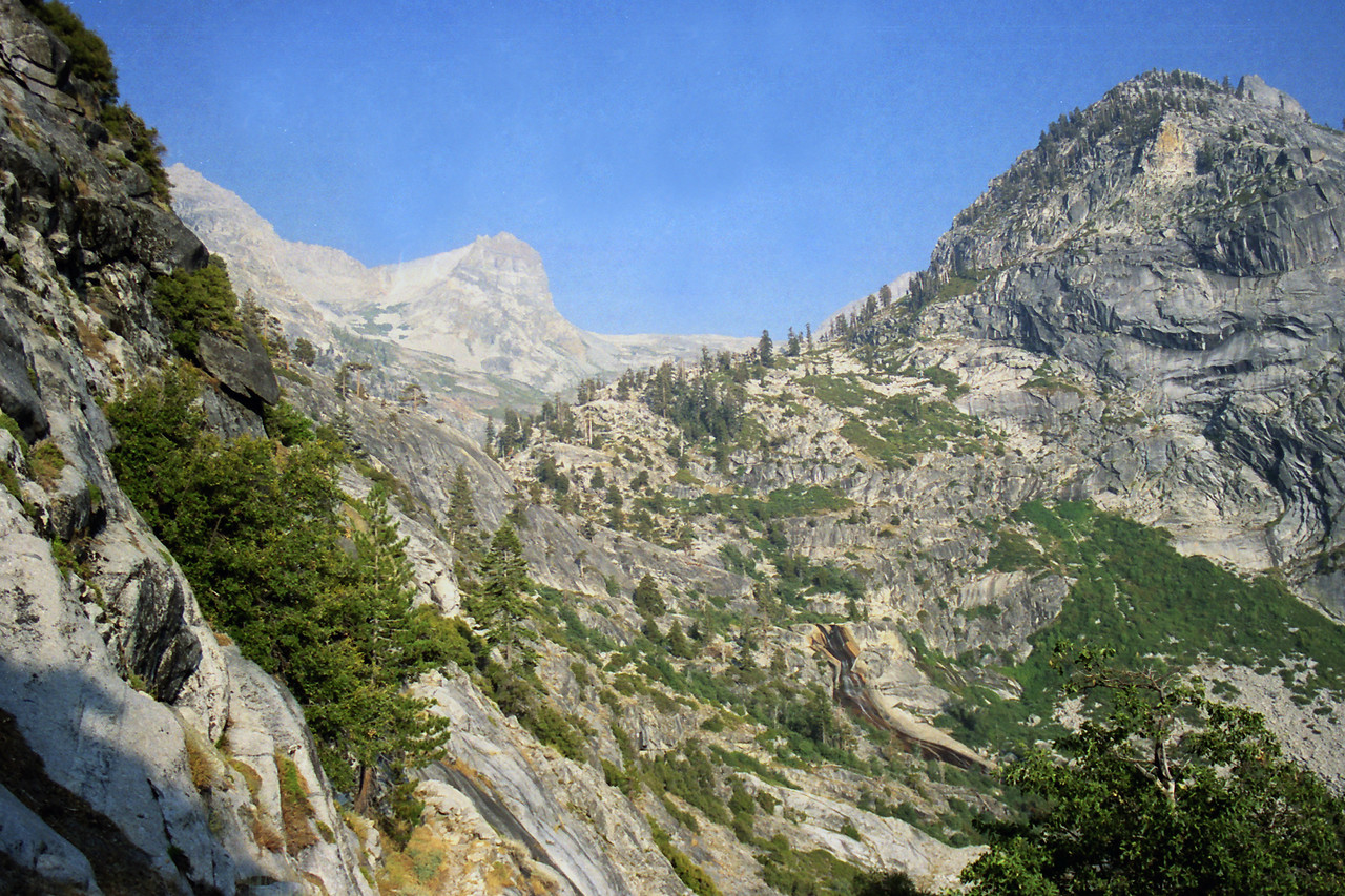 Looking at Hamilton Creek from the High Sierra trail just East of Lone Pine Creek
