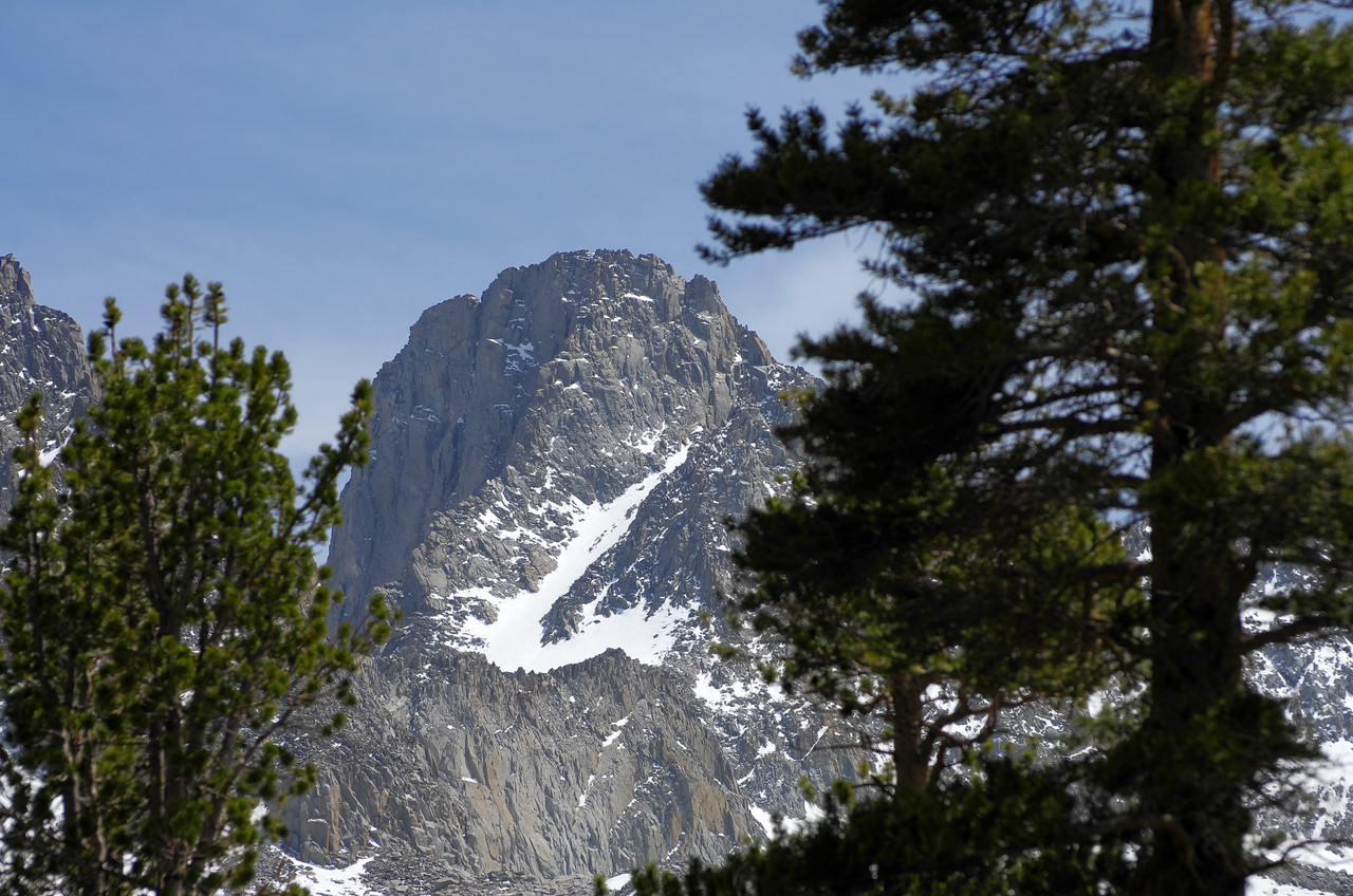 A peak up at Mount Sill from near the junction of the NF Big Pine Lakes Trail and the Fifth Lake trail~10,725ft
