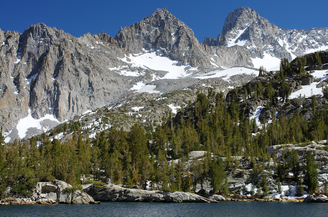Looking up towards Mount Gailey and Mount Sill from the Fifth Lake.